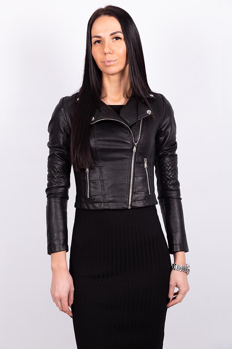 Короткая женская куртка из экокожи