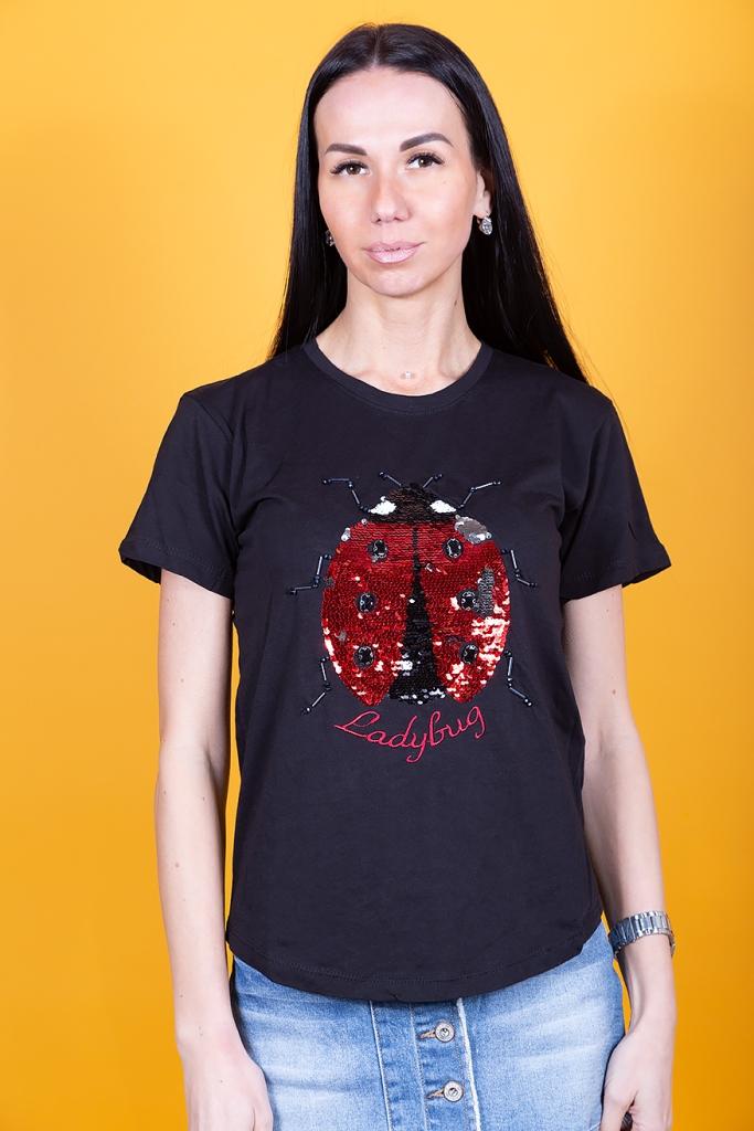 Женская футболка с пайетками
